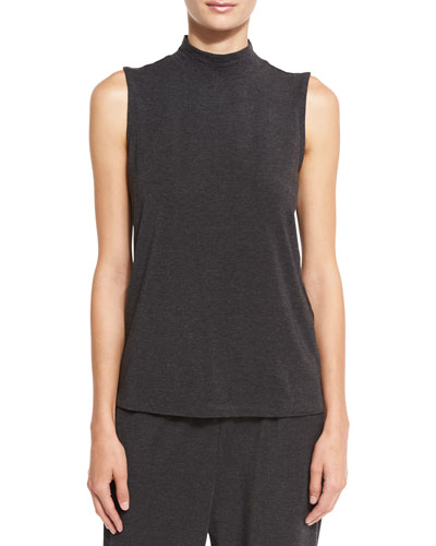 Mock-Neck Sleeveless Jersey Shell, Charcoal