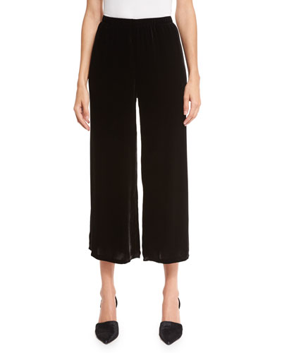 Velvet Wide-Leg Cropped Pants