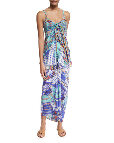 Printed Tie-Front Silk Coverup, Divinity Dance
