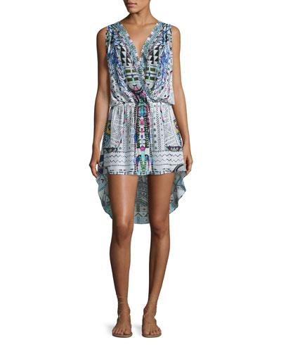 Embellished Surplice High-Low Dress, Maasai Mosh