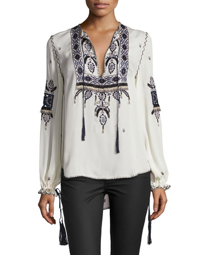 Talitha Embroidered Silk Blouse, Moonstone