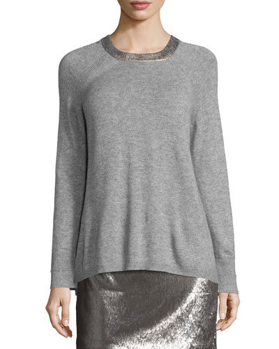 Long-Sleeve Split-Back Crewneck Sweater, Heather Gray