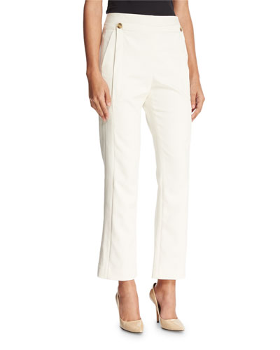 Slim Boot-Cut Ankle Pants, Chalk