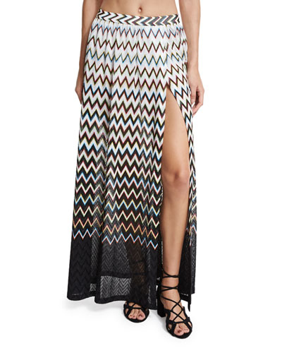 Zigzag Ombre Beach Maxi Skirt, Black