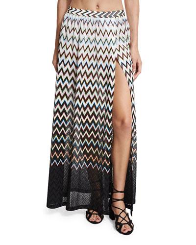 Zigzag Ombre Beach Maxi Skirt, Black