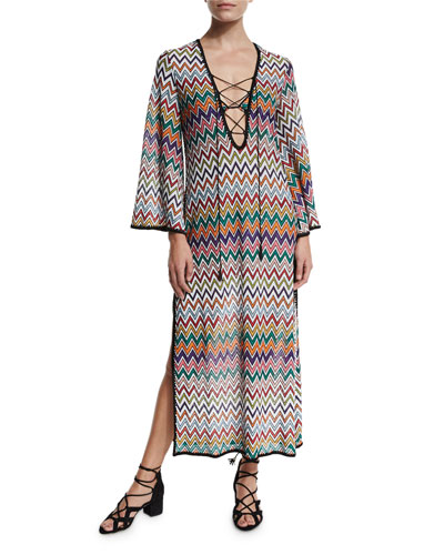 Zigzag Lace-Up Maxi Beach Dress, Multicolor