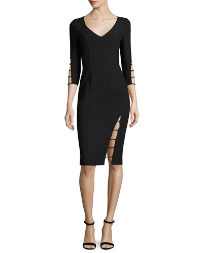 3/4-Sleeve Cutout Sheath Dress, Black