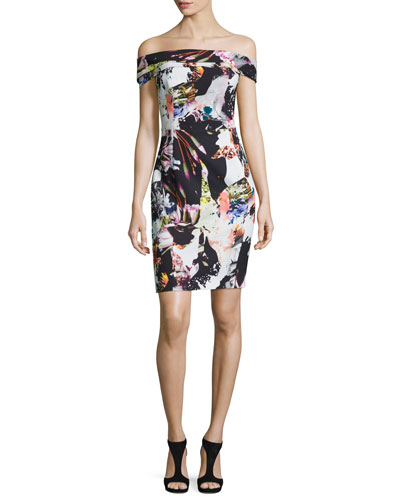 Off-the-Shoulder Floral Sheath Dress, Vision Quest