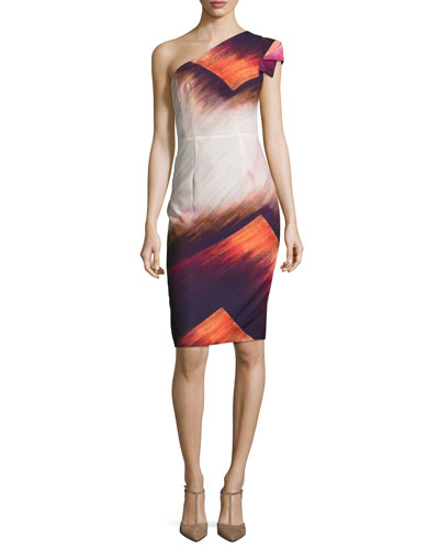One-Shoulder Printed Sheath Dress, Luck Dragon