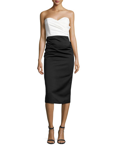 Satin Two-Tone Sweetheart Sheath Dress, Ivory