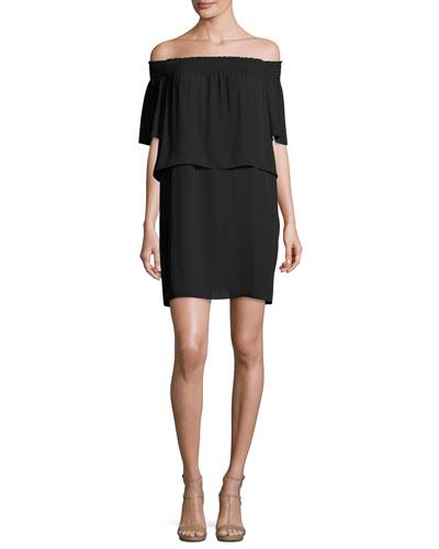 Cleo Off-the-Shoulder Popover Dress, Black