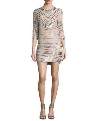 3/4-Sleeve Beaded Sequin Shift Dress, Ivory