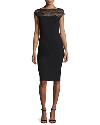 Ilmes Lace-Trim Sheath Dress, Nero
