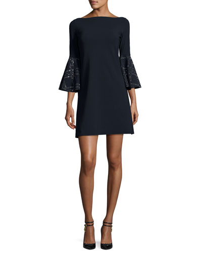 Bell-Sleeve Ponte A-Line Dress, Dark Navy