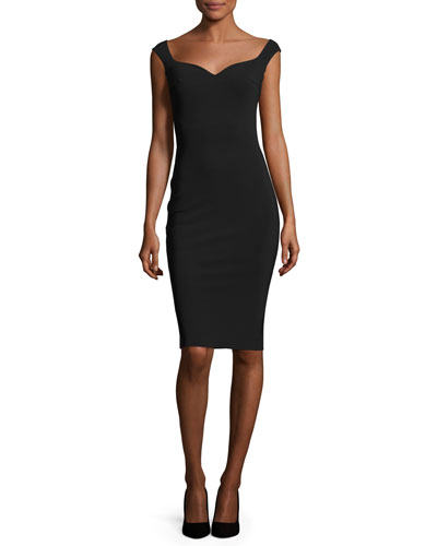 Sleeveless Sweetheart Cocktail Dress, Nero