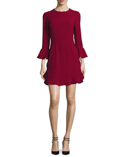 Bell-Sleeve Jersey Cocktail Dress, Currant