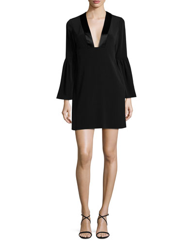 Velour Bell-Sleeve Shift Dress, Black