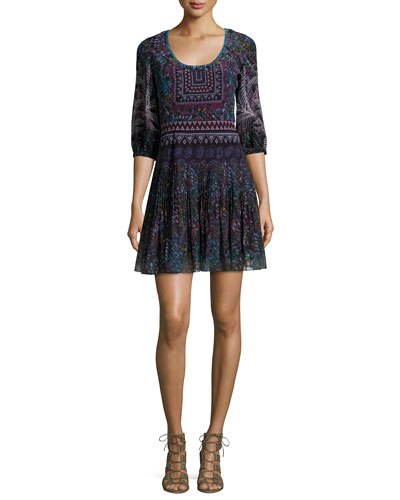 Elodie-D 3/4-Sleeve Silk Dress