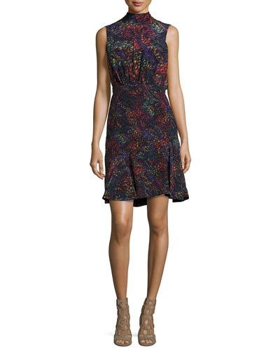 Fleur Mock-Neck Tie-Back Silk Dress