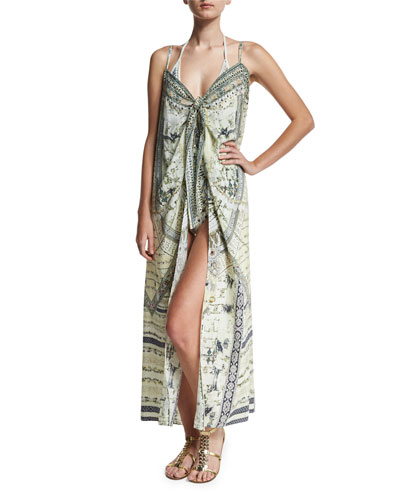 Embellished Crepe Tie-Front Maxi Coverup, Handiras Hold