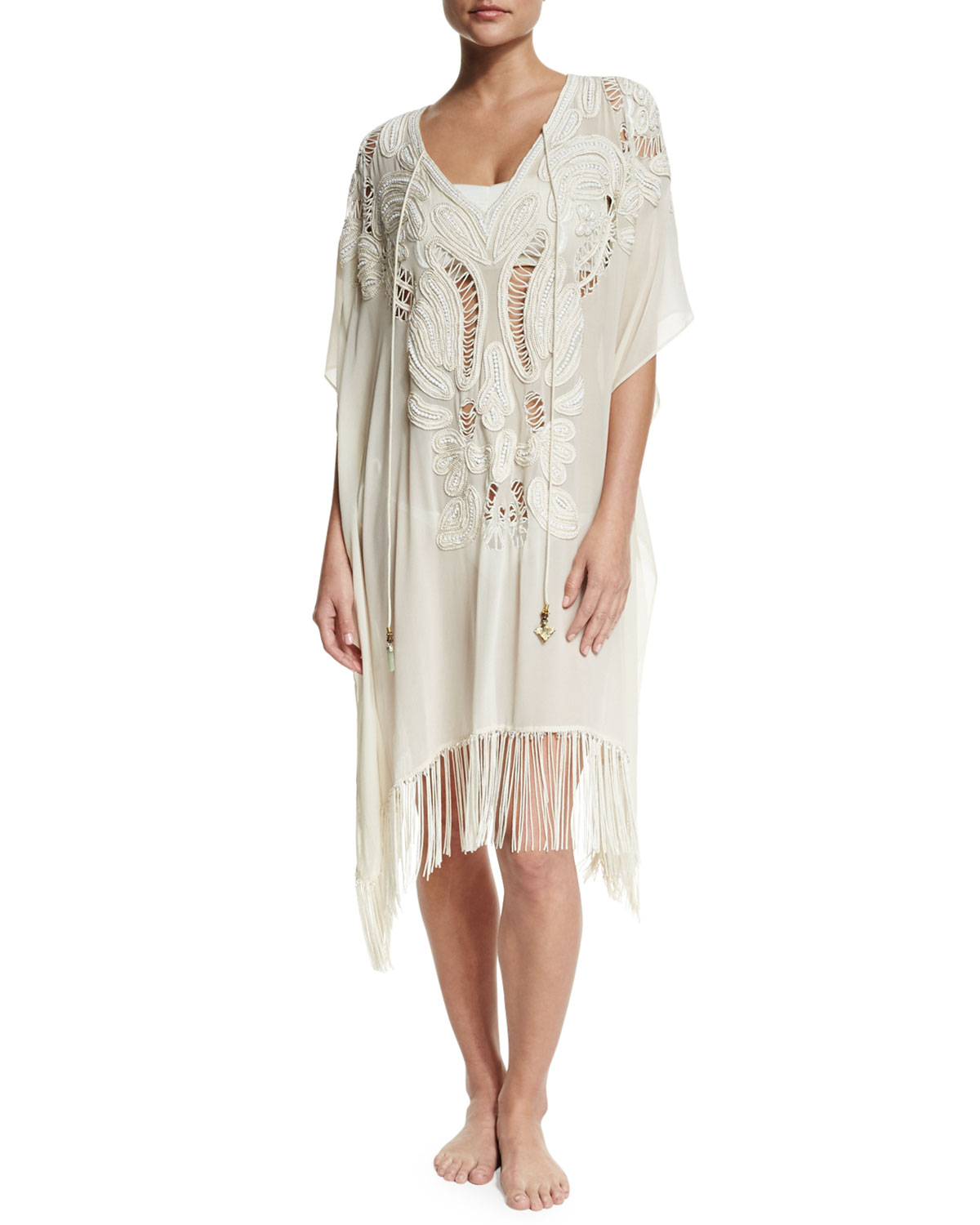Embroidered Fringe-Hem Chiffon Caftan Coverup