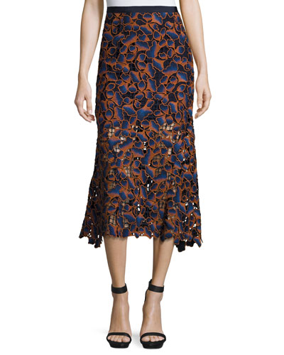 Bibi Guipure Lace Midi Skirt, Navy/Orange