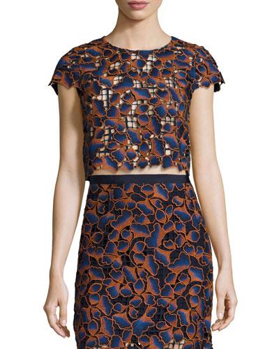 Eva Guipure Lace Crop Top, Navy/Orange