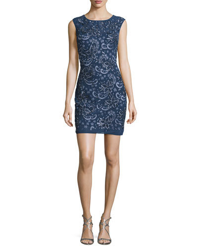 Sleeveless Embroidered Cocktail Dress, Steel Blue