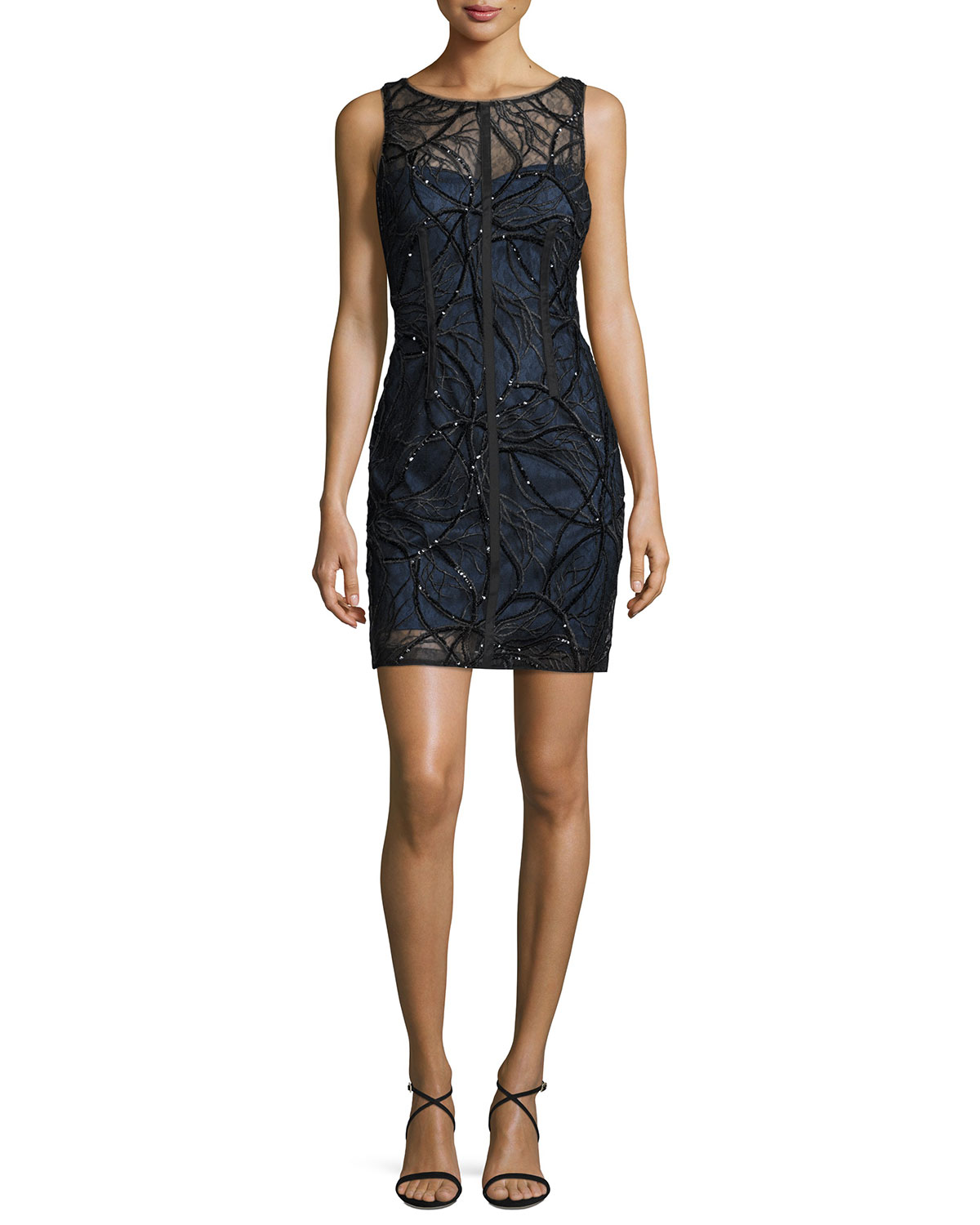Sleeveless Sequined Lace Cocktail Dress, Black/Steel Blue