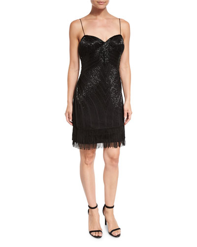 Sleeveless Beaded Fringe Cocktail Dress, Black