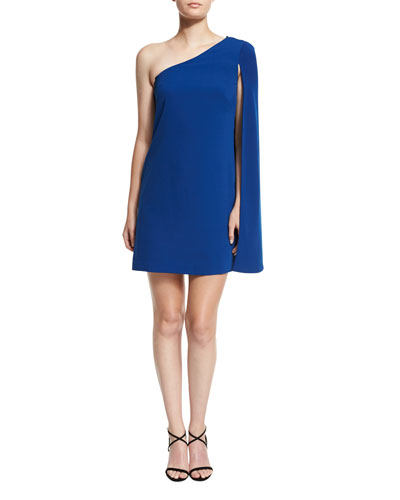 One-Shoulder Crepe Cocktail Dress, Sapphire