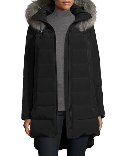Long Fur-Trimmed Hooded Puffer Coat, Black