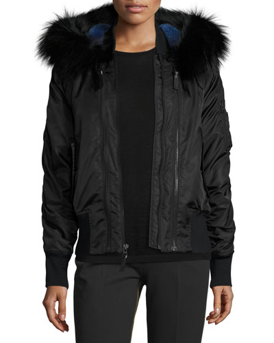 Hooded Fur-Trim Tech Jacket, Black