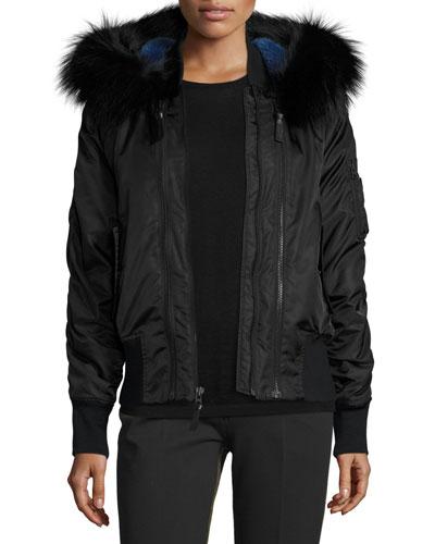 Hooded Fur-Trim Tech Jacket, Black