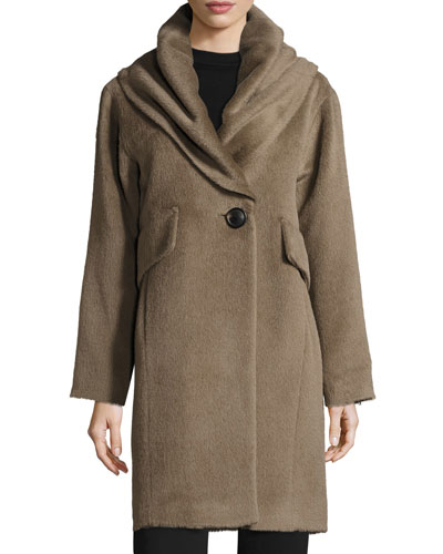 Oversized Hooded Alpaca & Wool Coat, Mink