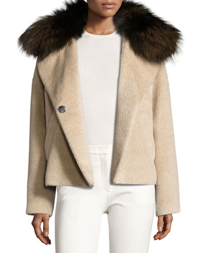 Fur-Trim Colorblock Coat, Beige