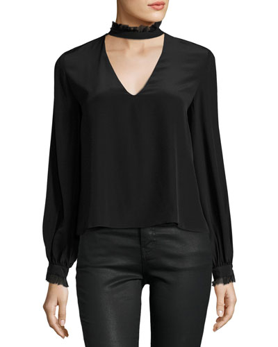 Klein Choker-Collar Silk Top, Black