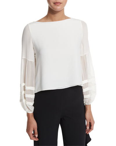 Maise Chiffon-Sleeve Blouse, Off White