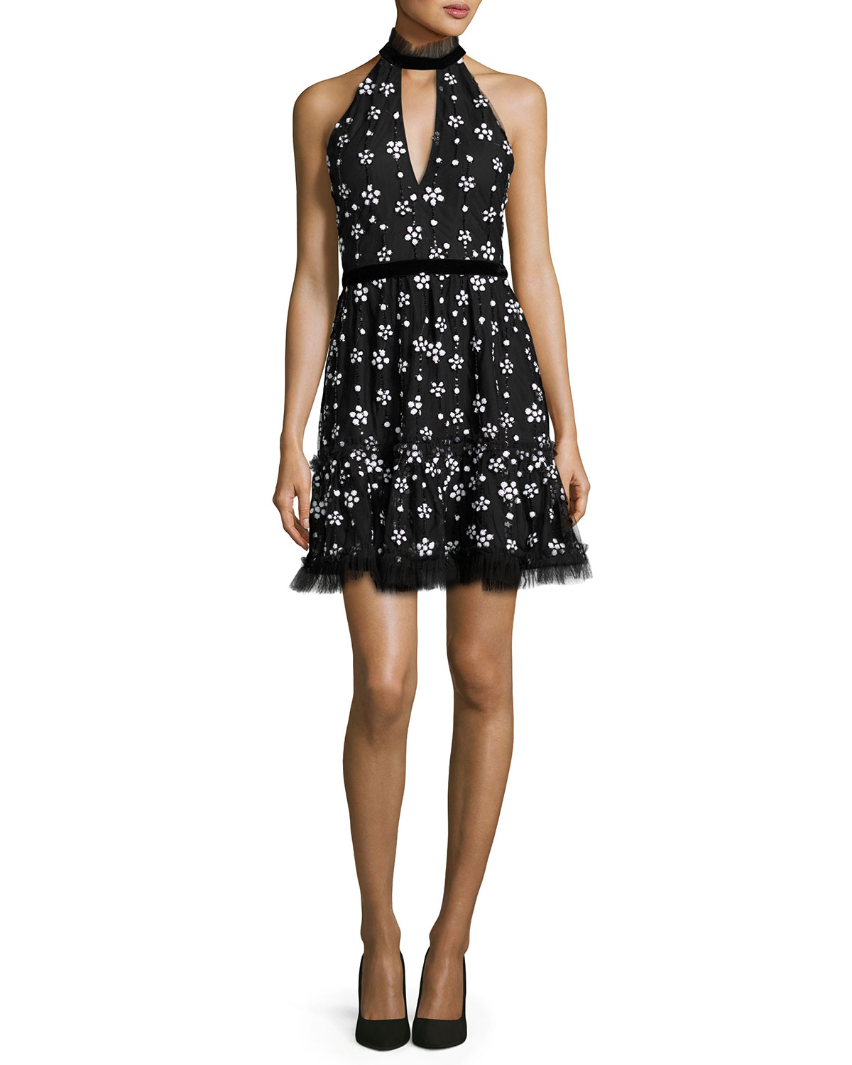 Poppy Sequined Cocktail Dress, Black