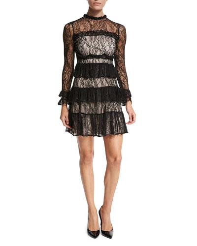 Sally Tiered Lace Mini Dress, Black