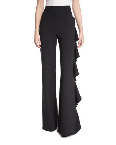 Karlina Ruffle-Trim Wide-Leg Pants, Black