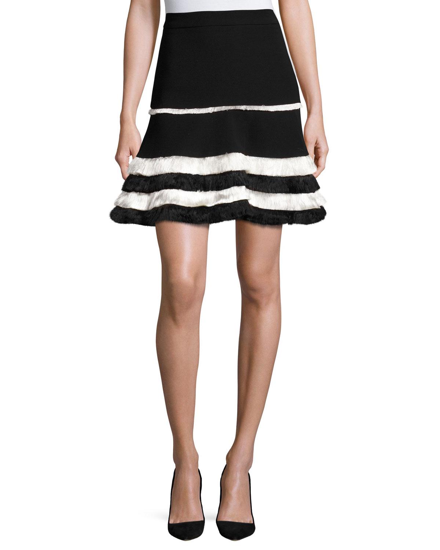 Tanya Tiered-Fringe Mini Skirt