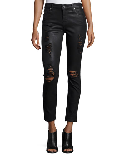 The Ankle Skinny Jeans w/Destroyed Details, Coated Fashion 2