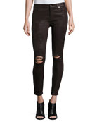 The Ankle Skinny Coated Jeans, Plum Destroyed