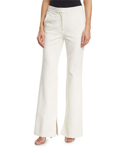 Anson Stretch Flare-Leg Pants, Ivory