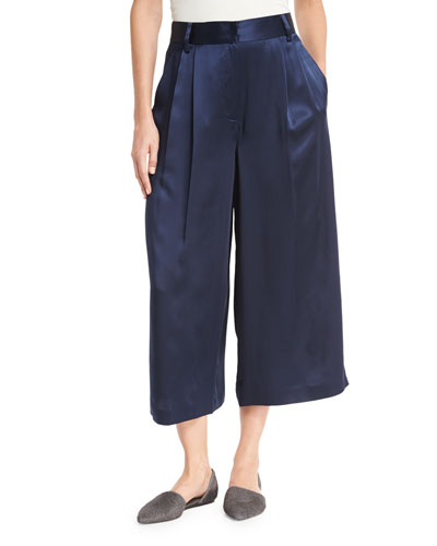 Satin Cropped Wide-Leg Pants