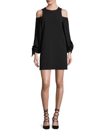 Cold-Shoulder Tie-Sleeve Crepe Mini Dress, Black