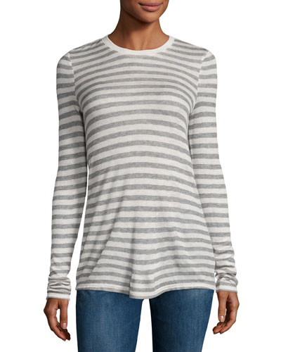 Long-Sleeve Striped Jersey Tee, Oatmeal/Gray
