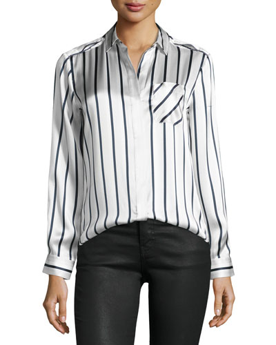 Long-Sleeve Striped Silk Charmeuse Blouse, Silver/Midnight/White