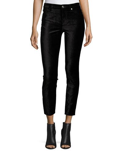 The Ankle Skinny Velvet Jeans, Black